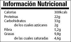Valor Nutricional Tortia de Avena y Café