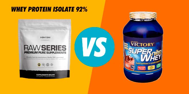 Comparativa: Whey Protein Isolate 92% de HSN Raw VS Super Nitro Whey de Weider
