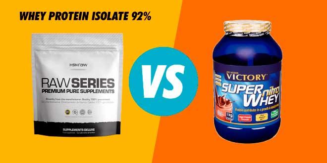 Comparativa: Whey Protein Isolate 92% de HSN Raw VS Super Nitro Whey de Weider