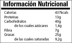 Valor Nutricional Avena Chocolate y Nueces