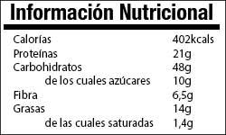 Valor Nutricional Avena Chia Pasas
